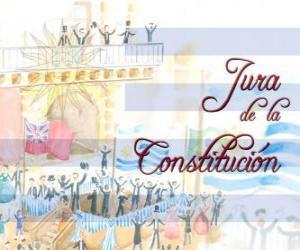 Puzle Jura da Constituição do Uruguai. Cada julho 18 é comemorado o juramento da primeira constituição nacional de 1830