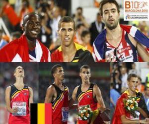 Puzle Kevin Borlée 400 m campeão, Michael Bingham e Martyn Rooney (2 e 3) do Campeonato Europeu de Atletismo de Barcelona 2010