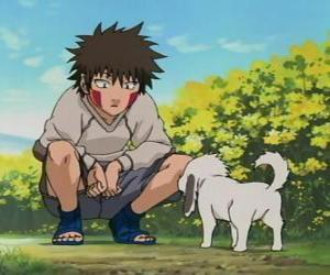 Puzle Kiba Inuzuka e seu cão e melhor amigo Akamaru fazem parte da Equipe 8
