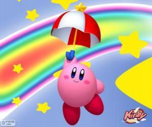 Puzle Kirby com um guarda-chuva voando entre as estrelas eo arco-íris