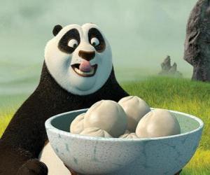 Puzle Kung Fu Panda quer comer alguns biscoitos feitos de arroz