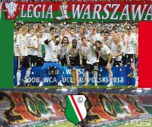 Puzle Légia Varsóvia, campeão Ekstraklasa 2012-2013, liga de futebol da Polônia