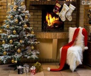 Puzle Lareira decorada para o Natal