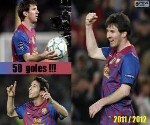 Puzle Leo Messi, maior artilheiro da história da liga espanhola, 2011-2012