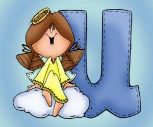 Puzle Letra U com um anjo