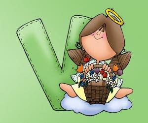 Puzle Letra V com um anjo