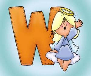 Puzle Letra W com um anjo