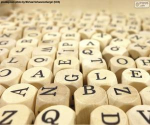 Puzle Letras de cubo de madeira