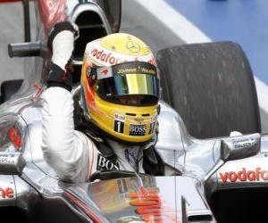 Puzle Lewis Hamilton celebra a vitória em Montreal, Canadá 2010 Grand Prix