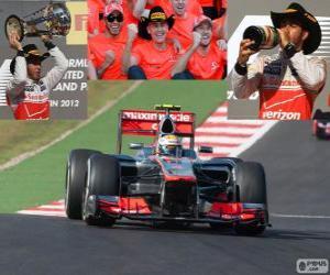 Puzle Lewis Hamilton comemora sua vitória no Grand Prix dos Estados Unidos 2012
