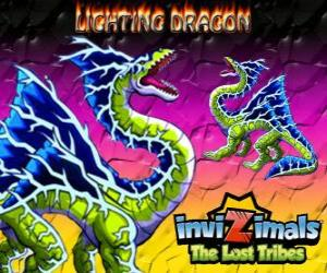 Puzle Lightning Dragon. Invizimals Tribos Perdidas. Este invizimal dragon domina o poder do relâmpago e do trovão