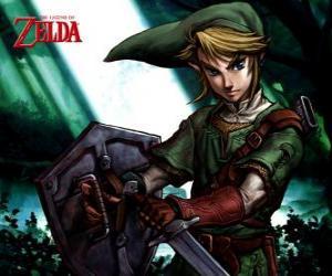 Puzle Link com espada e escudo nas aventuras do jogo de vídeo Legend of Zelda