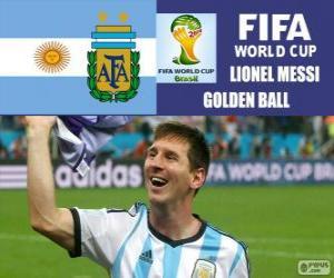 Puzle Lionel Messi, bola de ouro. Copa do mundo de futebol Brasil 2014