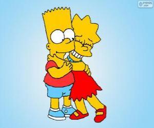 Puzle Lisa e Bart abraçados como bons irmãos