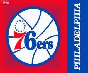 Puzle Logo Philadelphia 76ers, Sixers, equipe da NBA. Divisão do Atlântico,ConferênciaLeste