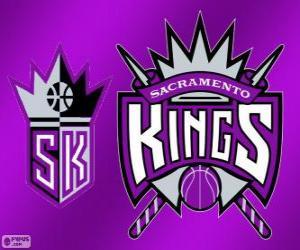 Puzle Logo Sacramento Kings, equipe da NBA. Divisão do Pacífico, ConferênciaOeste