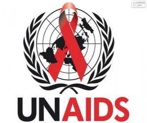 Puzle Logo UNAIDS. Programa conjunto das Nações Unidas sobre HIV / AIDS