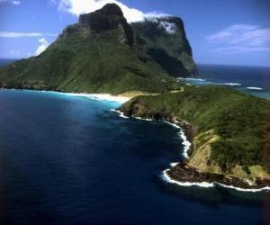 Puzle Lord Howe, ilhas, este arquipélago é um exemplo de geração de um conjunto de ilhas oceânicas isoladas por atividade vulcânica submarina. Austrália.