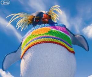 Puzle Lovelace, um pinguim estranho com um suéter de lã colorida, Happy Feet 2