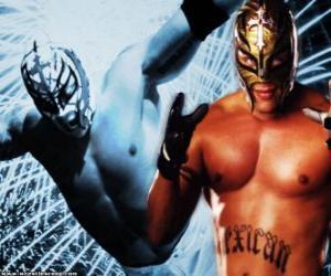 Puzle Lutador profissional com a máscara pronto para o combate, o wrestling profissional é um show de esporte
