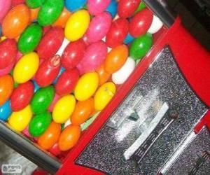 Puzle Máquina de vending de bolas de chiclete, goma de mascar ou chiclé