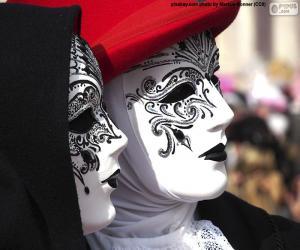 Puzle Máscaras clássicas brancas venezianas