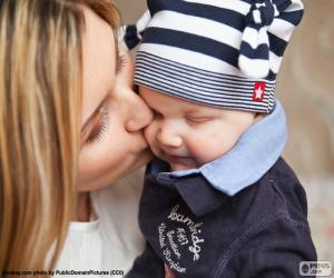 Puzle Mãe beijando seu bebê
