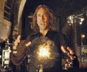 Puzle Mago ou feiticeiro com o fogo mágico