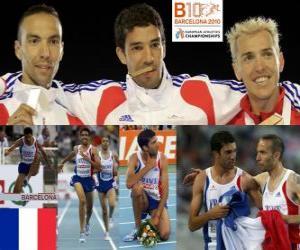 Puzle Mahiedine Mekhissi-campeão Benabbes 3000 metros com obstáculos, Bouabdellah Tahri e José Luis Blanco (2 ª e 3 ª) do Campeonato Europeu de Atletismo de Barcelona 2010