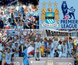 Puzle Manchester City, campeão da Premier League 2011-2012, liga de futebol da Inglaterra