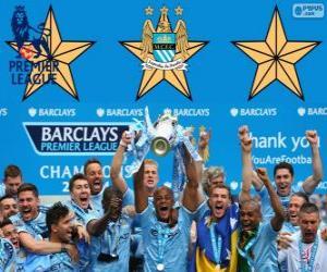 Puzle Manchester City, campeão da Premier League de 2013-2014, liga de futebol da Inglaterra