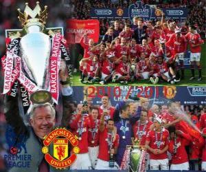 Puzle Manchester United, campeão da liga de futebol Inglês. Premier League 2010-2011