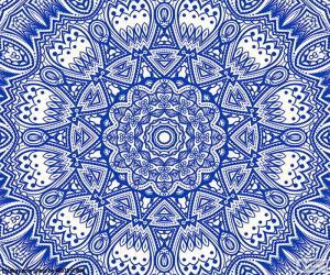Puzle Mandala de flor azul