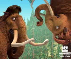 Puzle Manny e Ellie, dois mamuts apaixonados