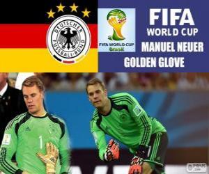 Puzle Manuel Neuer, luva de ouro. Copa do mundo de futebol Brasil 2014