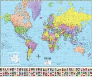Puzle Mapa com os limites dos países do mundo