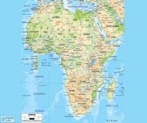 Puzle Mapa da África. O continente africano está localizado entre os oceanos Atlântico, Índico e Pacífico. Também faz fronteira com o mar Mediterrâneo e o mar vermelho