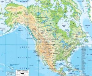 Puzle Mapa da América do Norte. América do Norte que compreende os países do Canadá, Estados Unidos e México