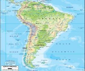 Puzle Mapa da América do Sul é um subcontinente que compreende a porção meridional da América