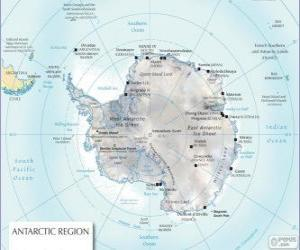 Puzle Mapa da Antártica. O Pólo Sul é no continente antártico