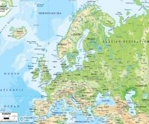 Puzle Mapa da Europa. O continente europeu estende-se através da Rússia para os Montes Urais
