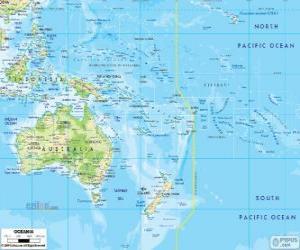 Puzle Mapa da Oceânia. Continente formado pela Austrália e outras ilhas e arquipélagos no Oceano Pacífico