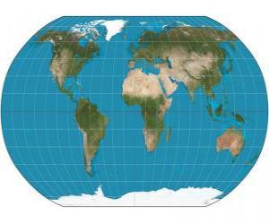 Puzle Mapa da terra. Mapa com a projeção de Robinson, que permite a representação de todo o mundo