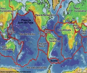 Puzle Mapa de placas tectônicas