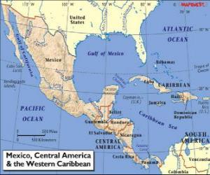 Puzle Mapa do México e América Central. América Central, subcontinente conectando a América do Norte e a América do Sul