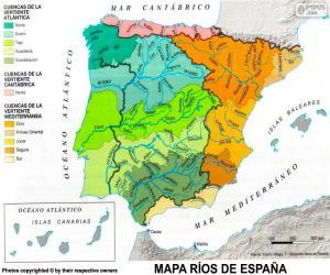 Puzle Mapa dos rios da Espanha