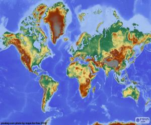 Puzle Mapa-múndi com relevo