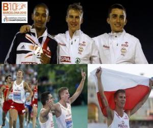 Puzle Marcin Lewadowski 800 m campeão, Michael Rimmer e Adam Kszczot (2 e 3) do Campeonato Europeu de Atletismo de Barcelona 2010