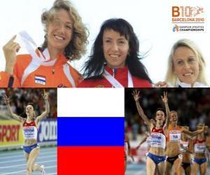 Puzle Maria campeão Savinov a 800 m, e Jennifer Meadows Hak Yvonne (2 e 3) do Campeonato Europeu de Atletismo de Barcelona 2010