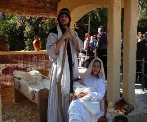 Puzle Maria, José eo menino Jesus na manjedoura a vida